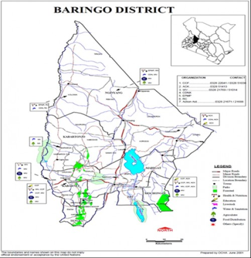 Map of Baringo District