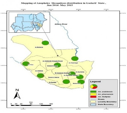Map by GIS for Gedarif State showing the sentinel sites and <em>Anopheles</em> species distribution in the state