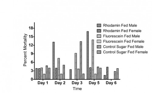 Mosquito survival after feeding to fluorescent dye mixed diets.