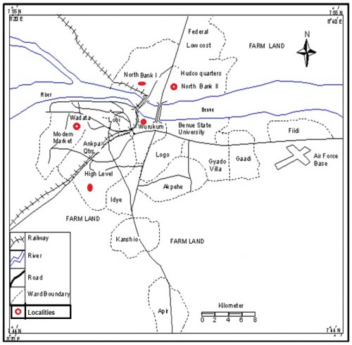Map of Makurdi Showing the Study Localities (Ministry of Lands and Survey Makurdi, 2011)<strong>.</strong>
