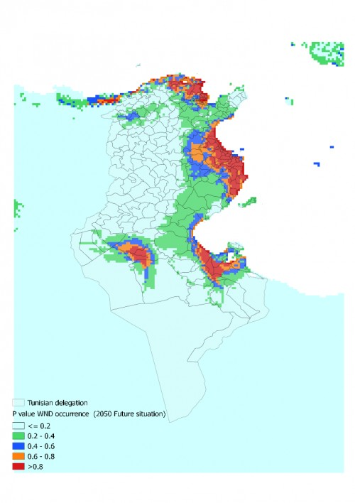 <strong> </strong>p-value distribution of WND occurrence suitable habitats in Tunisia (Future situation)