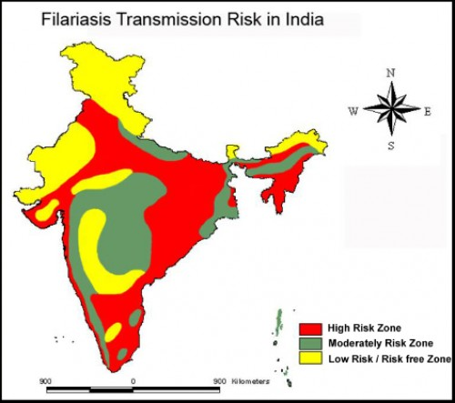 Filariasis Transmission Risk Zones in India, based on climate, landscape and the environmental variables.