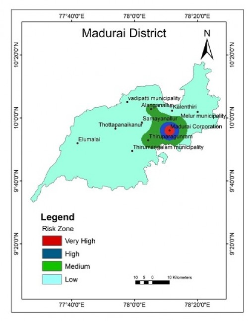 Mapping of Chikungunya risk zone in Madurai district at 2011.