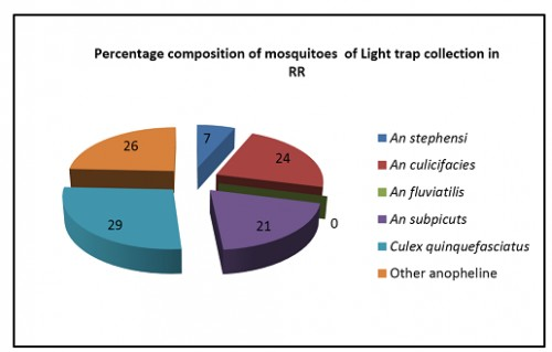 Percentage Composition of Vector Mosquitoes Observed In Light Trap in RR Colonies