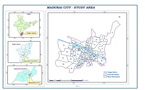 Madurai city, the study area is about 8741.73 sq. Km. and it comprises of 72 wards)
