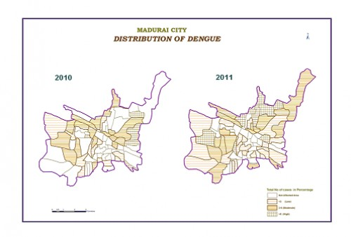 The map shows the spatial distribution of dengue in Madurai city for the year 2010 & 2011.