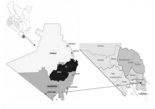 Map of Kenya showing Kwale County, Msambweni district and Shimoni location