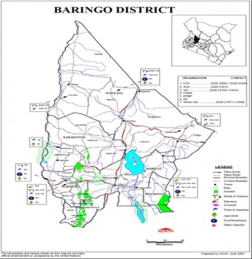 Map of Baringo District