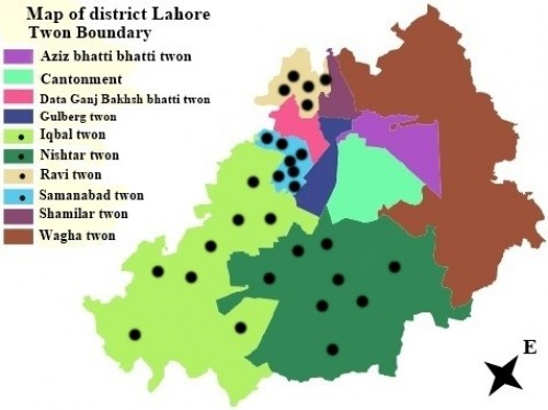 Map of Lahore. The <em>Aedes </em>mosquito<em> </em>collection sites are shown in dots, with their corresponding towns like Iqbal town, Nishtar town, Ravi town and Samanabad town (anonymous)