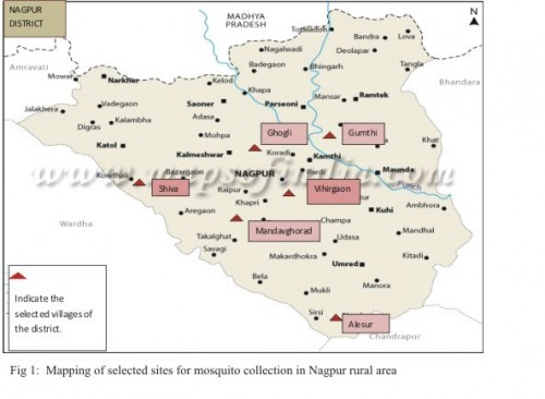 Mapping of selected sites for mosquito collection in Nagpur rural area