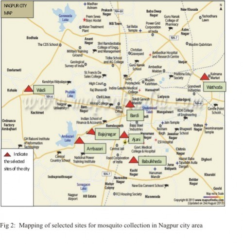 Mapping of selected sites for mosquito collection in Nagpur city area