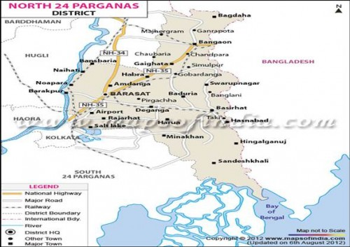 Map of North 24 Parganas showing the collection site-Barasat.