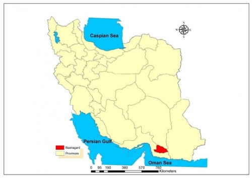 Map of governmental provinces of Iran, Bashagard County is highlighted in Hormozgan Province