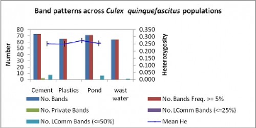 Total band patterns for binary (diploid) data by populations of <em>Cx. quinquefasciatus</em>