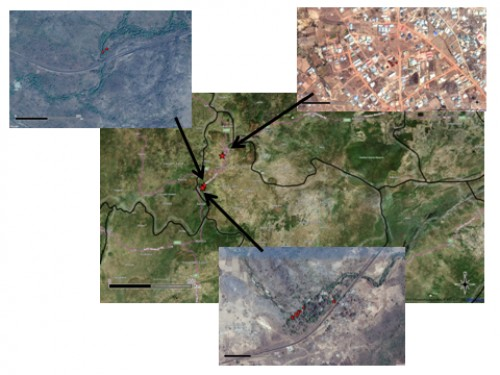 Map of Plateau State with Jos as headquarters with a star while the study site Assop falls has double stars, with attached top picture showing settlements surrounding Assop Falls