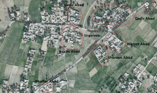 Map of Dinger showing sampling sites Khyber Pakhtunkhwa Pakistan.