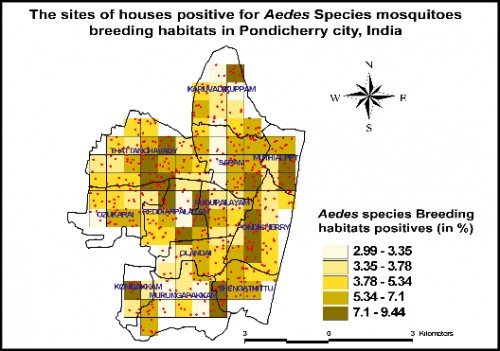 The density map of <em>Aedes</em> species mosquitoes breeding habitats (in %), based on the mean value of breeding habitats positives in the housing survey using GPS