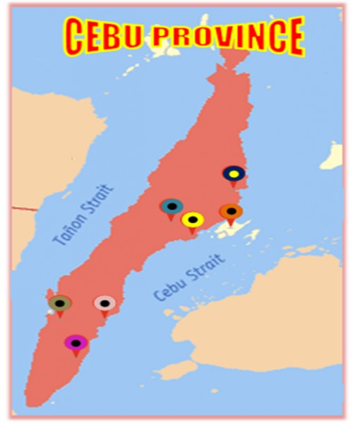 Map of Cebu Province showing 6 areas as sampling places