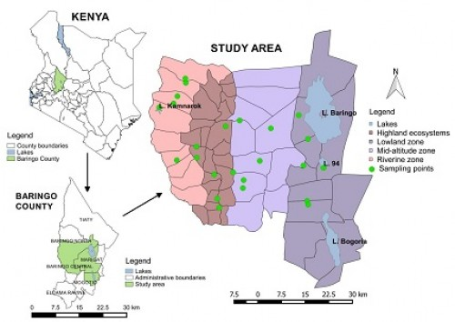 Map of study area showing sampling points in Baringo County