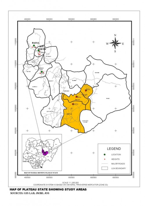 Map of Plateau State Showing Study Areas.