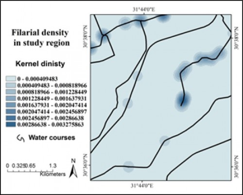 Modeling of filariasis density in study region.