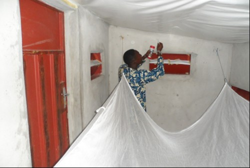 Mosquito collection in experimental huts