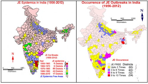 The repeated occurrence of JE epidemics in the country and    the spatial diffusion of JE epidemics in the newer areas where the intensive wet cultivation was practiced (1956-2012)., source: M.Palaniyandi, 2013