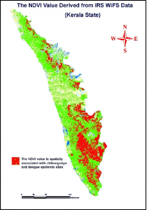 The spatial association between the NDVI value of IRS WiFS data and dengue and chikungunya epidemics transmission areas in Kerala state. Source: M.Palaniyandi, 2014.