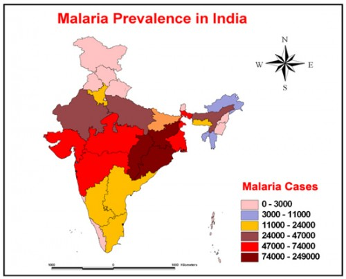 The malaria prevalence of States and the Union Territories in India, as on 2012, Source: M.Palaniyandi, 2013