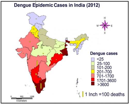 The dengue epidemics in India (2012), source: M.Palaniyandi, 2013