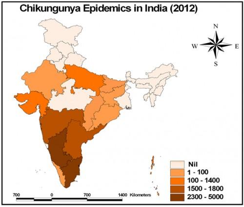 The Chikungunya epidemics in India (2012), source: M.Palaniyandi, 2013