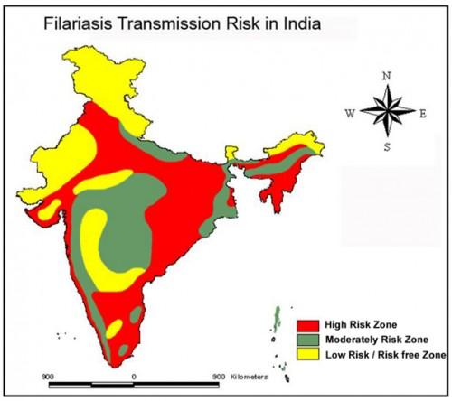 Filariasis Transmission Risk Map of India. Source: M.Palaniyandi, 2014