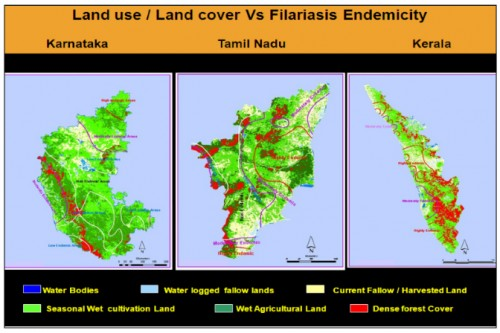 The spatial relationship between the IRS WiFS data and the Filariasis Endemicity in Karnataka, Tamil Nadu and Kerala states of South India, The Filariasis Endemicity level contour map is overlaid on land use / land cover map derived from satellite data. Source: M.Palaniyandi, 2014