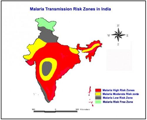 Malaria transmission risk in India, Map Source; M.Palaniyandi 2013