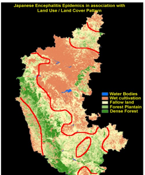 The spatial association between the land use categories of satellite remote sensing IRS WiFS data of Karnataka State in India, Source: M.Palaniyandi, 2013