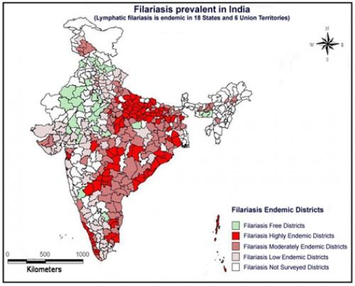 Filariasis Endemics in India as on 2012, source: M.Palaniyandi, 2014