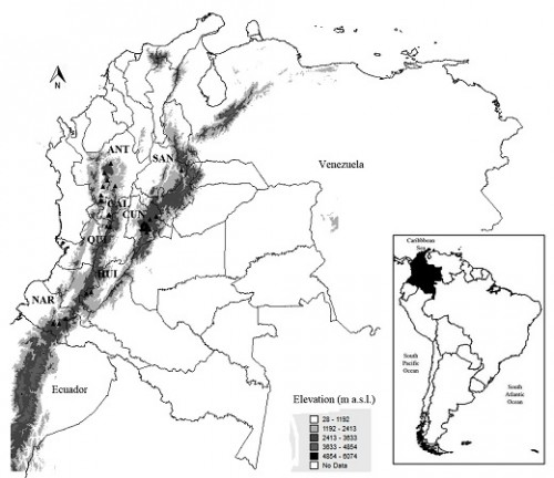 Map of sites for mosquito records above 2,000 m in Colombia. ANT: Antioquia, CAL: Caldas, CUN: Cundinamarca, HUI: Huila, NAR: Nariño, QUI: Quindío, SAN: Santander.