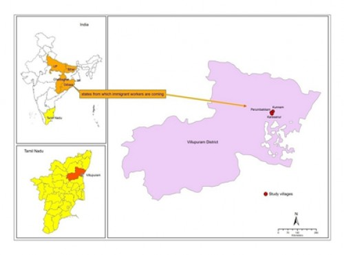 Map showing study area in Villupuram district of Tamil Nadu state
