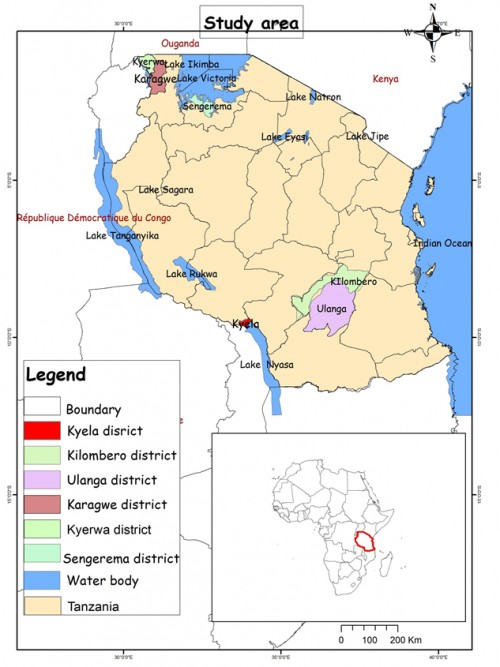 Map of Tanzania showing study locations which included five districts located within four regions