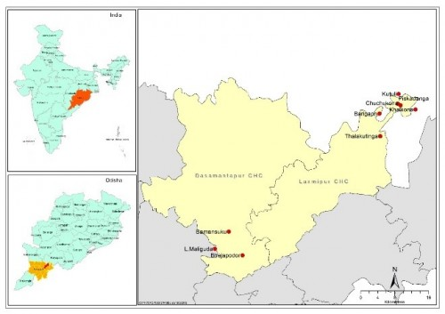 Map showing study area in Koraput district of Odisha State