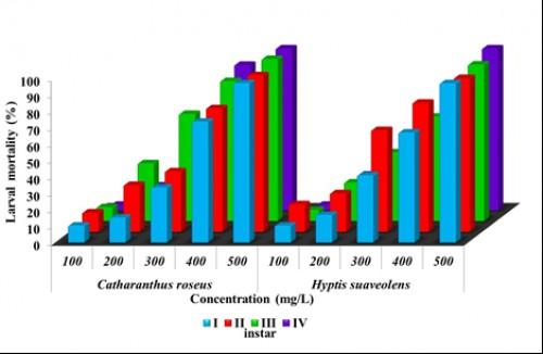 Percent <em>Aedes</em> <em>aegypti</em> larval mortality on exposure to <em>Catharanthus</em> <em>roseus</em> and <em>Hyptis</em> <em>suaveolens</em> extracts