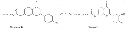 Outline the chemical flavonoid structures; chromone1 and chromone 2 isolated from date pits methanolic extract 70%.