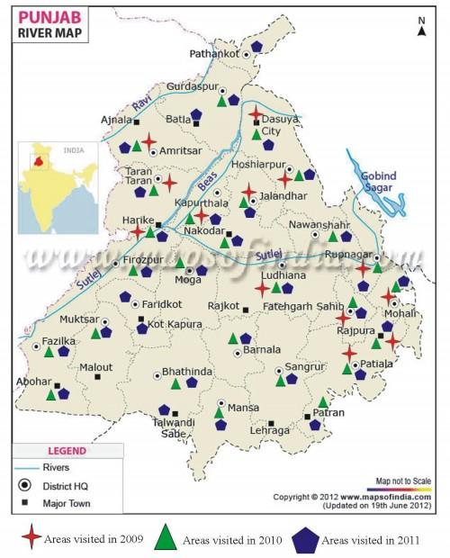 Map of Punjab showing various Collection sites surveyed during 2009-2011.