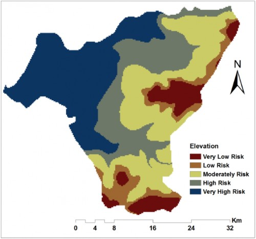 Environmental factors that greatly influence malaria incidence and prevalence in the study. a) Reclassified elevation.