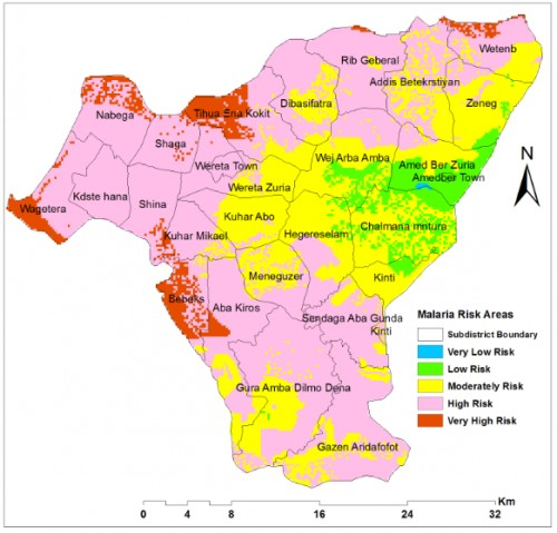 Malaria Risk Areasidentified using Weighted overlay Model in Arc GIS