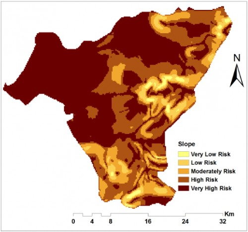 Environmental factors that greatly influence malaria incidence and prevalence in the study. b) Reclassified slope.