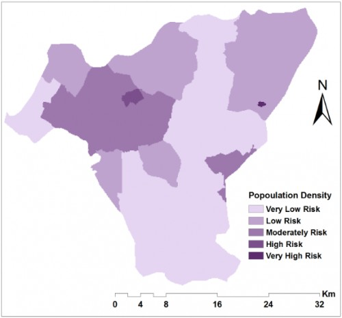 Socio-economic factors that affect malaria occurrence and distribution in the study. a) Reclassified population density.