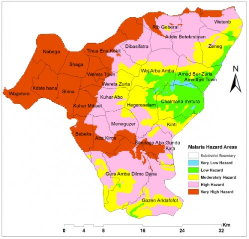 Malaria hazard areas mapped using weighted overlay Model in Arc GIS