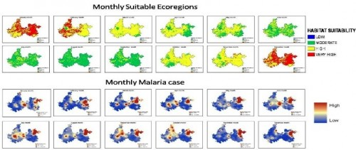 Monthly suitable Eco regions and distribution of malaria cases reported