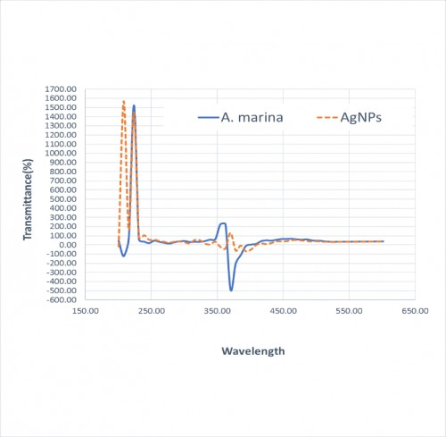 Analysis of the FTIR for <em>A. marina</em> extract before and after adding silver nitrates.
